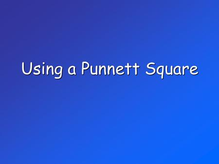Using a Punnett Square. What is a PUNNETT SQUARE? If you know the genes of the parents, a Punnett square can be used to… show the different ways alleles.