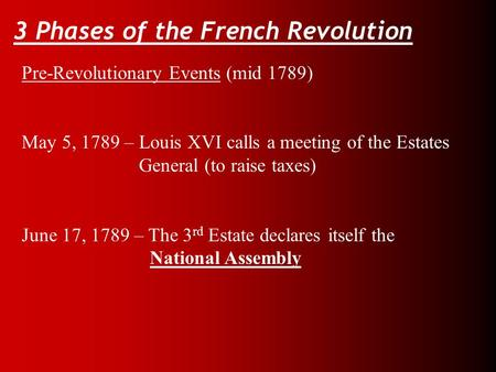 3 Phases of the French Revolution Pre-Revolutionary Events (mid 1789) May 5, 1789 – Louis XVI calls a meeting of the Estates General (to raise taxes) June.
