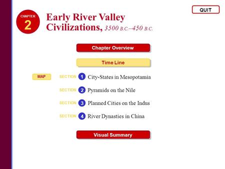 Early River Valley Civilizations, 3500 B.C. –450 B.C. QUIT Chapter Overview Time Line Visual Summary SECTION City-States in Mesopotamia 1 SECTION Pyramids.