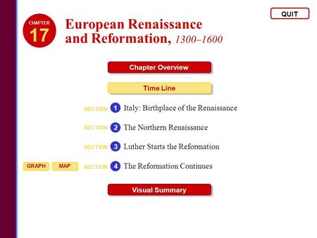 European Renaissance and Reformation, 1300–1600 QUIT Chapter Overview Time Line Visual Summary SECTION Italy: Birthplace of the Renaissance 1 SECTION The.
