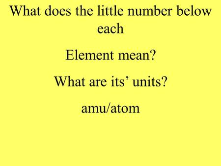 What does the little number below each Element mean? What are its units? amu/atom.