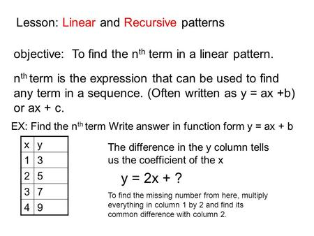 Lesson: Linear and Recursive patterns objective: To find the n th term in a linear pattern. n th term is the expression that can be used to find any term.
