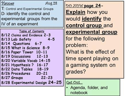 Planner Aug 28 T: Control and Experimental Groups D : identify the control and experimental groups from the IV of an experiment Table of Contents 8/12.