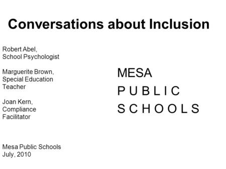 Conversations about Inclusion