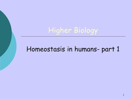 Homeostasis in humans- part 1