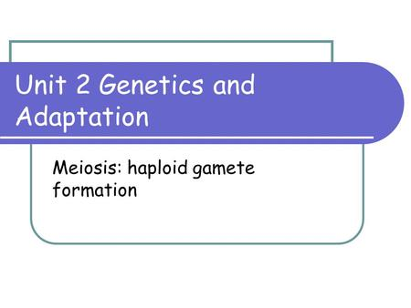Unit 2 Genetics and Adaptation Meiosis: haploid gamete formation.