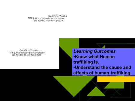 Learning Outcomes Know what Human traffiking is. Understand the cause and effects of human traffiking.