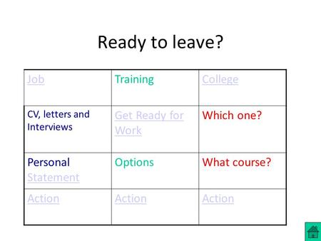 Ready to leave? JobTrainingCollege CV, letters and Interviews Get Ready for Work Which one? Personal Statement Statement OptionsWhat course? Action.