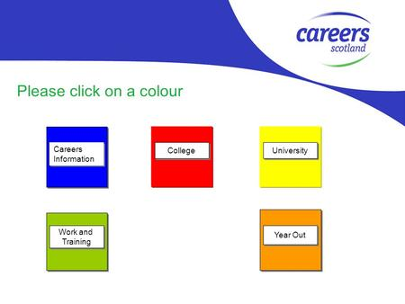 Please click on a colour Careers Information Careers Information Work and Training Work and Training College University Year Out.