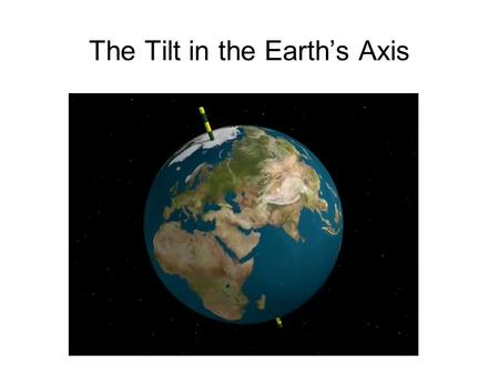 The Tilt in the Earths Axis. north pole The earths axis is tilted. This diagram shows the tilt in January south pole The north pole is tilted away from.