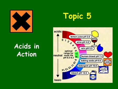 Topic 5 Acids in Action. Topic 5.1 Acids in Action What does the pH scale measure? What pH numbers refer to acids? What pH numbers refer to alkalis? What.