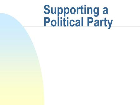 Supporting a Political Party. Joining a Party n Strong belief in partys policies n Main Scottish parties are Labour, SNP, Liberal Democrats, Conservative.