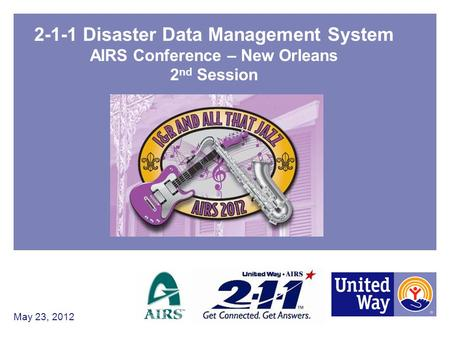 2-1-1 Disaster Data Management System AIRS Conference – New Orleans 2 nd Session May 23, 2012.