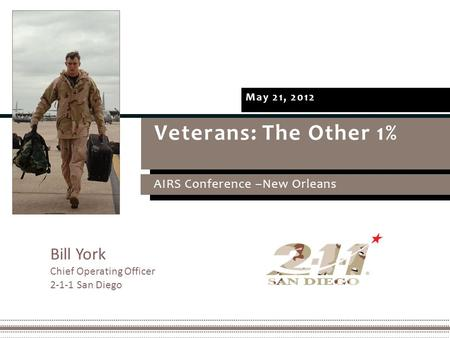 Veterans: The Other 1% AIRS Conference –New Orleans May 21, 2012 Bill York Chief Operating Officer 2-1-1 San Diego.