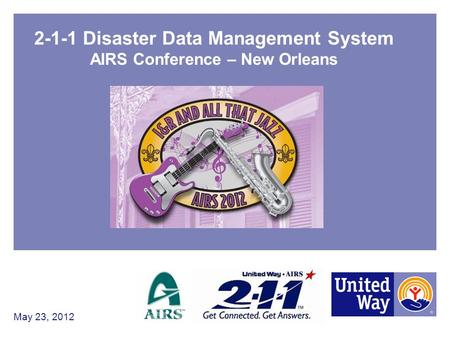 2-1-1 Disaster Data Management System AIRS Conference – New Orleans May 23, 2012.