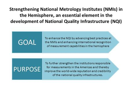 Strengthening National Metrology Institutes (NMIs) in the Hemisphere, an essential element in the development of National Quality Infrastructure (NQI)