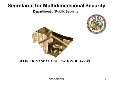 DPS/SSM/OEA1 Department of Public Security Secretariat for Multidimensional Security DEFINITION AND CLASSIFICATION OF GANGS.