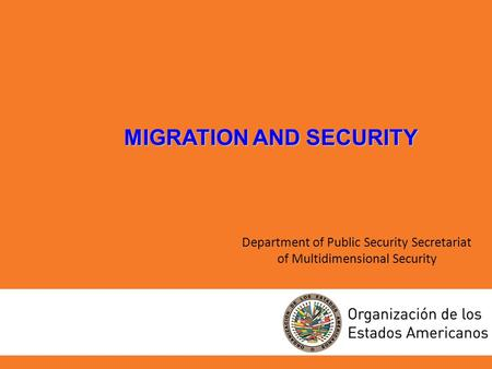 Department of Public Security Secretariat of Multidimensional Security MIGRATION AND SECURITY.