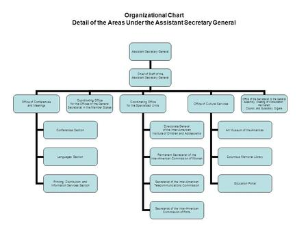 Organizational Chart Detail of the Areas Under the Assistant Secretary General Assistant Secretary General Chief of Staff of the Assistant Secretary General.