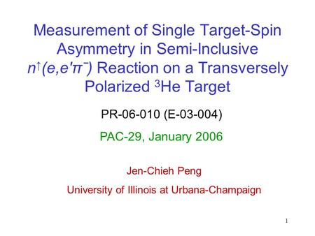 1 Measurement of Single Target-Spin Asymmetry in Semi-Inclusive n (e,eπˉ) Reaction on a Transversely Polarized 3 He Target PR-06-010 (E-03-004) PAC-29,