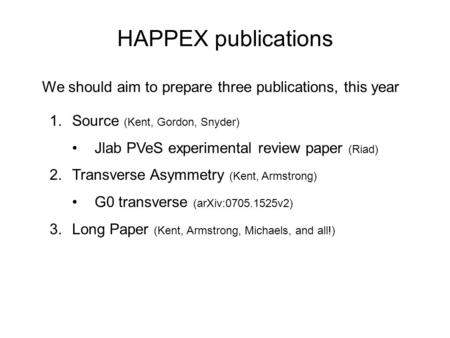 HAPPEX publications 1.Source (Kent, Gordon, Snyder) Jlab PVeS experimental review paper (Riad) 2.Transverse Asymmetry (Kent, Armstrong) G0 transverse (arXiv:0705.1525v2)