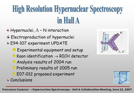 Hypernuclei, – N interaction Electroproduction of hypernuclei E94-107 experiment UPDATE Experimental equipment and setup Kaon identification RICH detector.