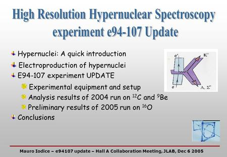 Hypernuclei: A quick introduction Electroproduction of hypernuclei E94-107 experiment UPDATE Experimental equipment and setup Analysis results of 2004.