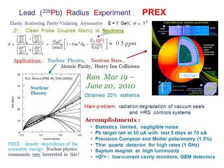 Lead ( 208 Pb) Radius Experiment : PREX E = 1 GeV, Elastic Scattering Parity-Violating Asymmetry PREX : density -dependence of the symmetry energy. Nuclear.