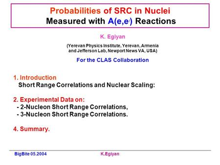 BigBite 05.2004K.Egiyan Probabilities of SRC in Nuclei Measured with A(e,e / ) Reactions K. Egiyan (Yerevan Physics Institute, Yerevan, Armenia and Jefferson.