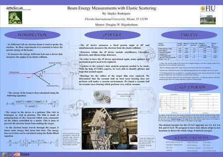 Beam Energy Measurements with Elastic Scattering At Jefferson Lab an electron beam is used to probe the nucleus. In these experiments it is essential to.
