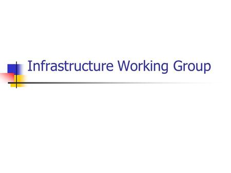 Infrastructure Working Group. Infrastructure vs. Services SecurityAuthentication Service Infrastructure.