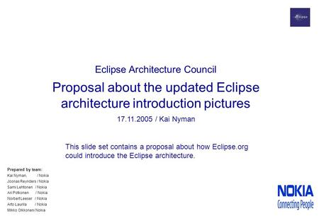 Eclipse Architecture Council Proposal about the updated Eclipse architecture introduction pictures 17.11.2005 / Kai Nyman This slide set contains a proposal.