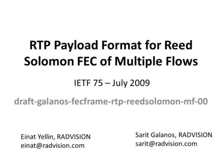 RTP Payload Format for Reed Solomon FEC of Multiple Flows