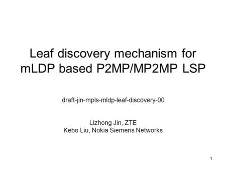 Leaf discovery mechanism for mLDP based P2MP/MP2MP LSP