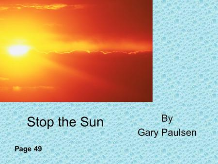 Stop the Sun By Gary Paulsen Page 49. Focus Your Reading Theme – moral, meaning, or message that a writer wishes to convey Pay attention to the lessons.
