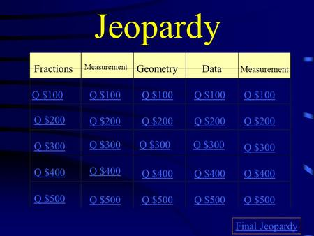 Jeopardy Fractions Measurement GeometryData Measurement Q $100 Q $200 Q $300 Q $400 Q $500 Q $100 Q $200 Q $300 Q $400 Q $500 Final Jeopardy.