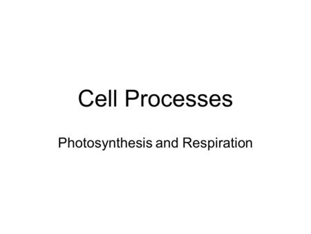 Cell Processes Photosynthesis and Respiration. Photosynthesis Nearly all living things get their energy either directly or indirectly from energy of sunlight.