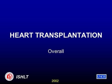 2002 ISHLT HEART TRANSPLANTATION Overall. 2002 ISHLT NUMBER OF HEART TRANSPLANTS REPORTED BY YEAR * Numbers may be low due to delayed reporting. Number.
