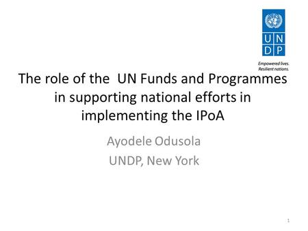 The role of the UN Funds and Programmes in supporting national efforts in implementing the IPoA Ayodele Odusola UNDP, New York 1.