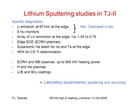 Lithium Sputtering studies in TJ-II Specific diagnostics: -Li emission at 671nm at the edge Rel. Calibrated in situ -6 H monitors -Array of Li+ emmision.