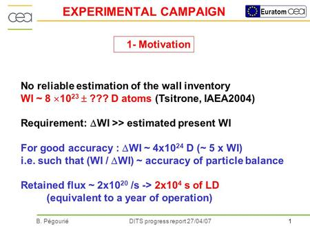 1B. PégouriéDITS progress report 27/04/07 Euratom EXPERIMENTAL CAMPAIGN No reliable estimation of the wall inventory WI ~ 8 10 23 ??? D atoms (Tsitrone,
