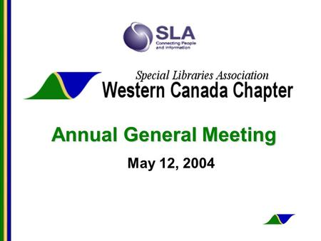 Annual General Meeting May 12, 2004. AGM Agenda Call to order Approval of minutes of 2003 AGM Treasurers Report Communication Directors Report Year in.