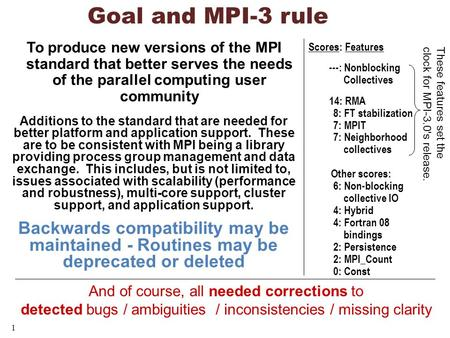 1 Goal and MPI-3 rule To produce new versions of the MPI standard that better serves the needs of the parallel computing user community Additions to the.