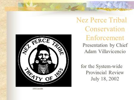 Nez Perce Tribal Conservation Enforcement Presentation by Chief Adam Villavicencio for the System-wide Provincial Review July 18, 2002 1995 Copyright.