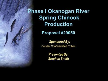 Phase I Okanogan River Spring Chinook Production Proposal #29050 Sponsored By: Colville Confederated Tribes Presented By: Stephen Smith.