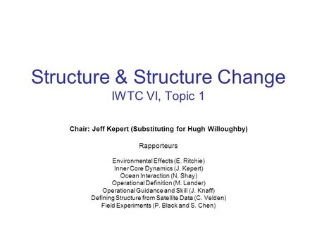 Structure & Structure Change IWTC VI, Topic 1 Chair: Jeff Kepert (Substituting for Hugh Willoughby) Rapporteurs Environmental Effects (E. Ritchie) Inner.