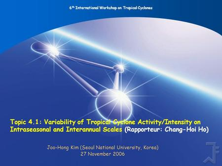 6 th International Workshop on Tropical Cyclones Topic 4.1: Variability of Tropical Cyclone Activity/Intensity on Intraseasonal and Interannual Scales.