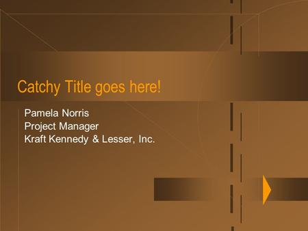 Catchy Title goes here! Pamela Norris Project Manager Kraft Kennedy & Lesser, Inc.