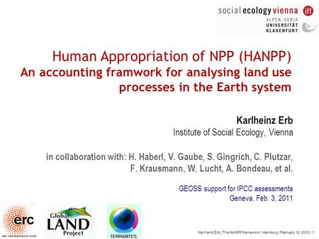Karlheinz Erb | The HANPP framework | Hamburg | February 10, 2010 | 1 Human Appropriation of NPP (HANPP) An accounting framwork for analysing land use.