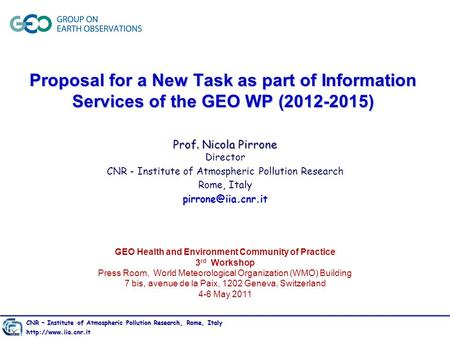 GEO Health and Environment Community of Practice